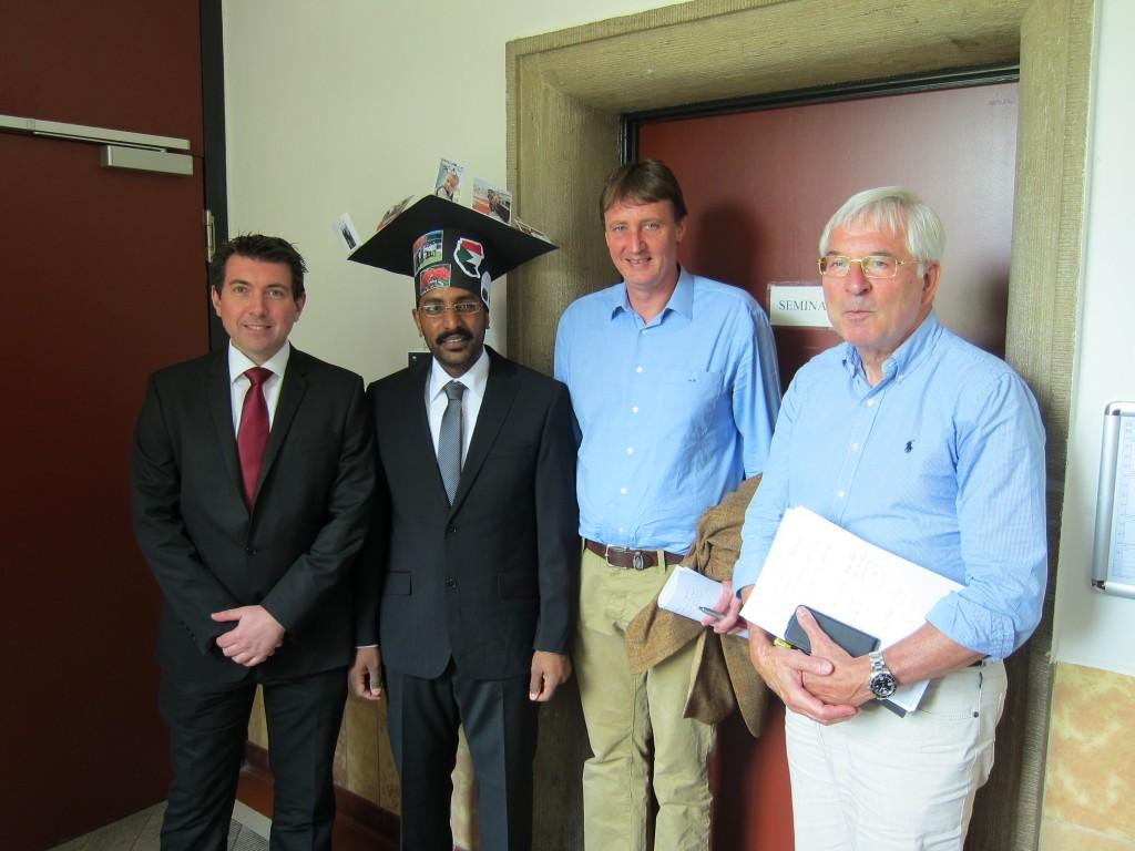 Dr. Mohamed Elsadig with Dr. Robert, Prof. Dr. Nikolai Kuhnert and Prof. Dr. Gerd-Volker Röschenthaler