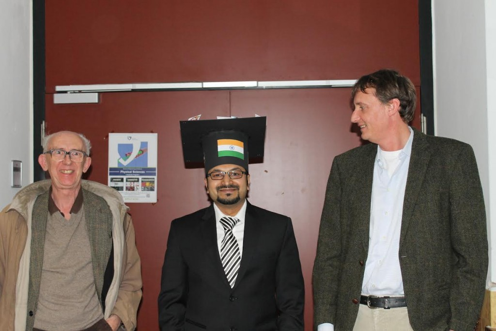 Dr. Sagar Deshpande with Prof. Dr. Michael Clifford and Prof. Dr. Nikolai Kuhnert